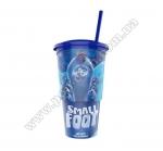 Стакан пластиковый для напитка «Смолфут» с крышкой и трубочкой, V22 (0,5л), EU