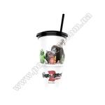Cтакан пластиковий для напоїв «ANGRY BIRDS У КІНО 2» з кришкою та трубочкою, V22 (0,5л), EU