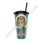 Стакан пластиковый для напитка «Монстры на каникулах 3» с крышкой и трубочкой, V22 (0,5л), EU