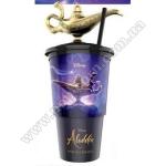 Топпер и стакан пластиковый для напитка «Аладдин» с крышкой и трубочкой, V22 (0,5л), EU